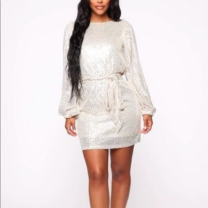Long sleeve silver sequin mini dress NWT